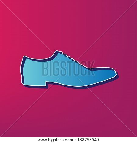 Men Shoes sign. Vector. Blue 3d printed icon on magenta background.