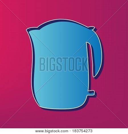Electric kettle sign. Vector. Blue 3d printed icon on magenta background.