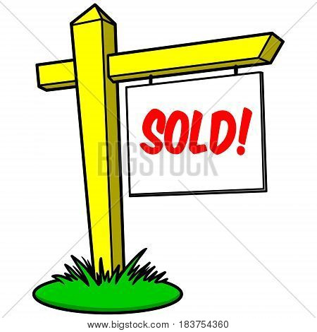 A vector illustration of a Sold house sign.