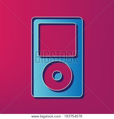 Portable music device. Vector. Blue 3d printed icon on magenta background.