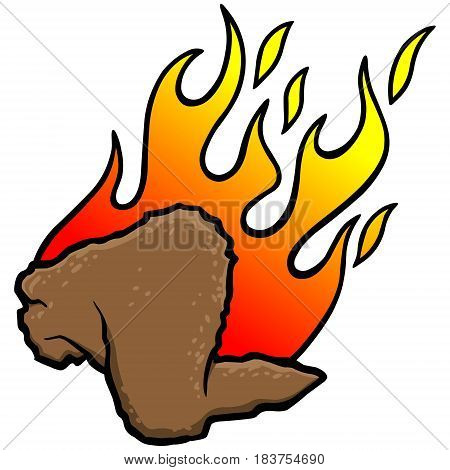 A vector illustration of a hot chicken wing.