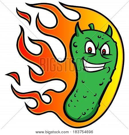 A vector illustration of a flaming Pickle.