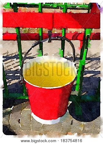 Digital watercolor painting of a red bucket with discoloured water hanging on a hook ready to be used to put out a fire. With space for text.