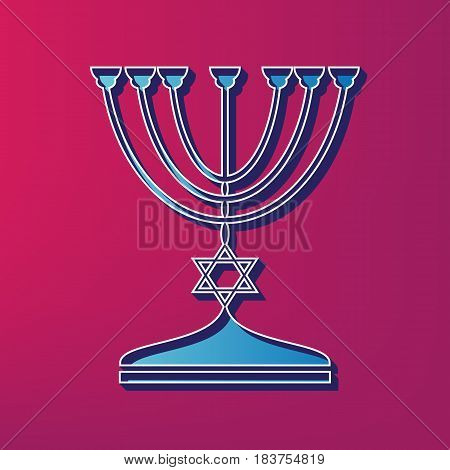 Jewish Menorah candlestick in black silhouette. Vector. Blue 3d printed icon on magenta background.