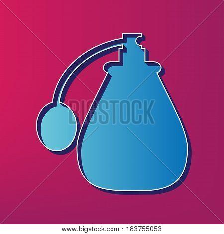 Vector black perfume icon set. Perfume Icon Object, Perfume Icon Picture. Vector. Blue 3d printed icon on magenta background.