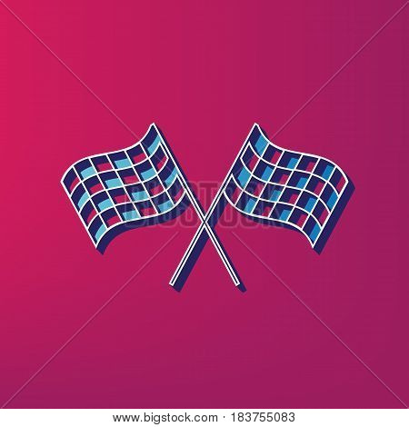 Crossed checkered flags logo waving in the wind conceptual of motor sport. Vector. Blue 3d printed icon on magenta background.