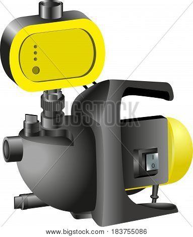 in  yellow Colors. Garden Pump. Vector illustration