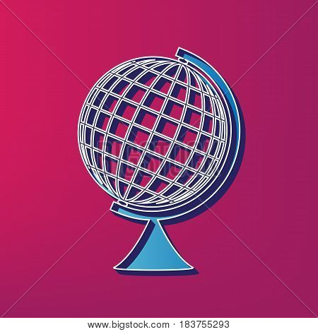 Earth Globe sign. Vector. Blue 3d printed icon on magenta background.