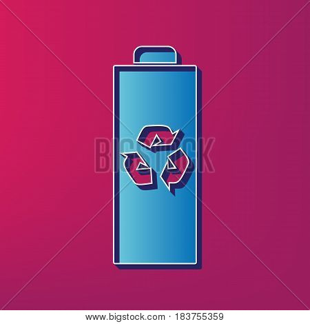 Battery recycle sign illustration. Vector. Blue 3d printed icon on magenta background.