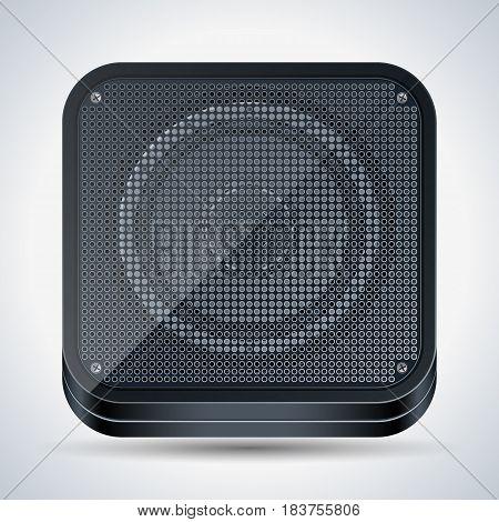 Black plastic square loudspeaker realistic vector icon