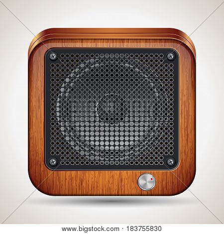 Brown wooden loudspeaker realistic square vector icon