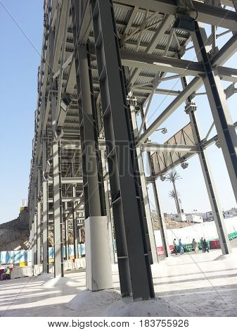 MECCA, SAUDI ARABIA - OCTOBER 1: Bridge entrance to Masjidil Haram under construction on October 1, 2015 in Mecca, Saudi Arabia.