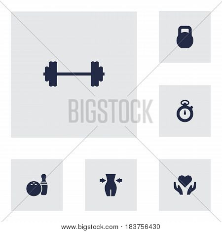 Set Of 6 Training Icons Set.Collection Of Timer, Slimming, Kegling And Other Elements.