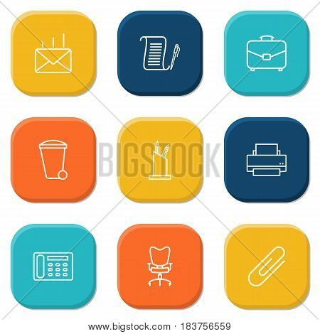 Set Of 9 Bureau Outline Icons Set.Collection Of Agreement, Pen Storage, Fastener Paper And Other Elements.