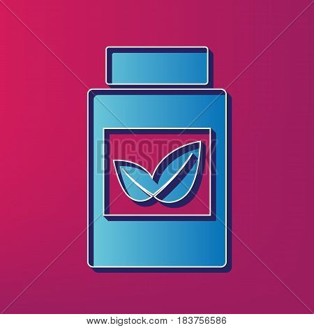 Supplements container sign. Vector. Blue 3d printed icon on magenta background.