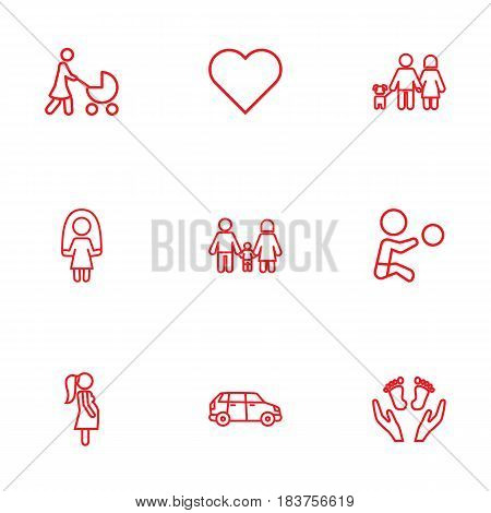 Set Of 9 People Outline Icons Set.Collection Of Skipping Rope, Boy, Pregnant Woman And Other Elements.