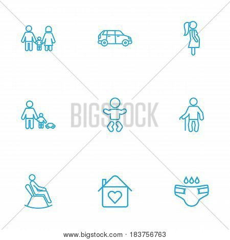 Set Of 9 Relatives Outline Icons Set.Collection Of Baby, Home, Family And Other Elements.