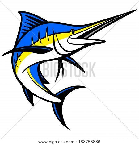 A vector illustration of a swimming Swordfish.