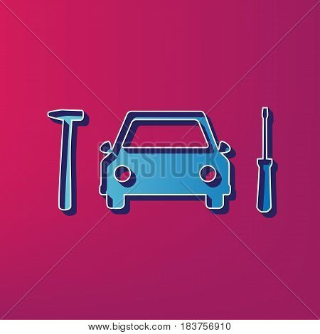 Car tire repair service sign. Vector. Blue 3d printed icon on magenta background.