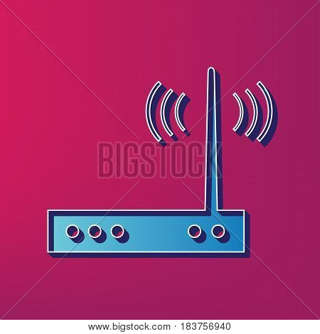 Wifi modem sign. Vector. Blue 3d printed icon on magenta background.
