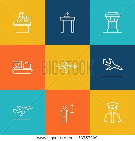 Set Of 9 Airplane Outline Icons Set.Collection Of Control Tower, Pilot, Flight And Other Elements.