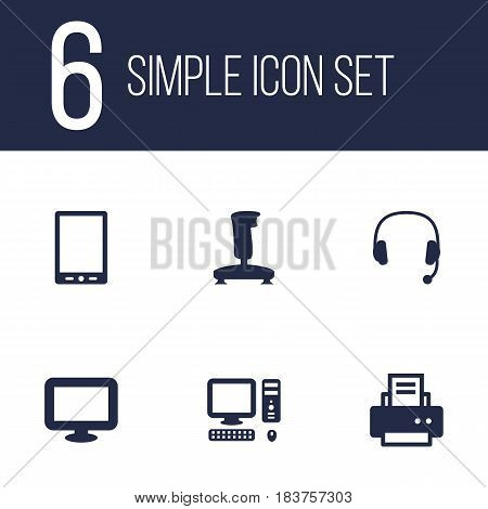 Set Of 6 Computer Icons Set.Collection Of Palmtop, Headset, Peripheral And Other Elements.