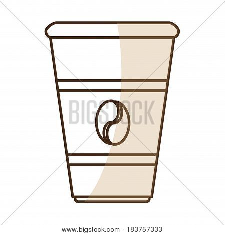 brown silhouette shading glass disposable for hot drinks vector illustration