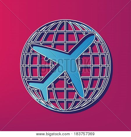 Globe and plane travel sign. Vector. Blue 3d printed icon on magenta background.