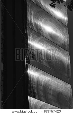 MILAN, ITALY - AUGUST 27, 2016: Milan (Lombardy Italy): skyscraper at Citylife known as Allianz building one of the Three Towers. Black and white
