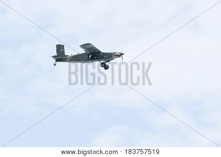 PRACHAP KHIRI KHAN THAILAND - MARCH 29 : old warior plane practice for new airforce pilot in prachauap harbor airforce base on march 29 2017 in southern of thailand
