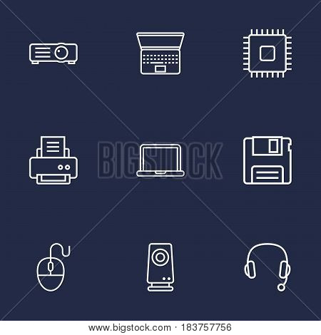 Set Of 9 Laptop Outline Icons Set.Collection Of Cpu, Computer Mouse, Projector And Other Elements.