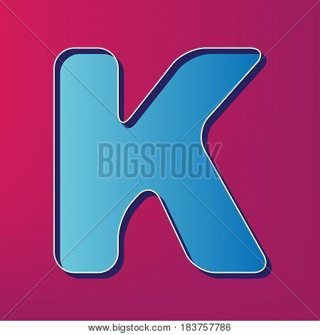 Letter K sign design template element. Vector. Blue 3d printed icon on magenta background.