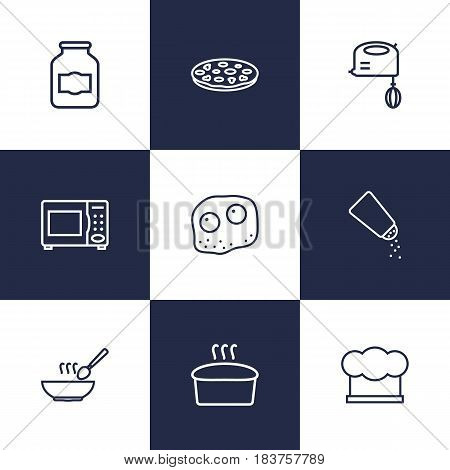 Set Of 9 Cooking Outline Icons Set.Collection Of Bread, Microwave, Mixer And Other Elements.