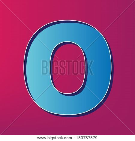 Letter O sign design template element. Vector. Blue 3d printed icon on magenta background.