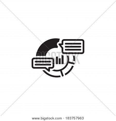 Analytics Icon. Business and Finance. Isolated Illustration. Circle Diagram with description pop-up messages.