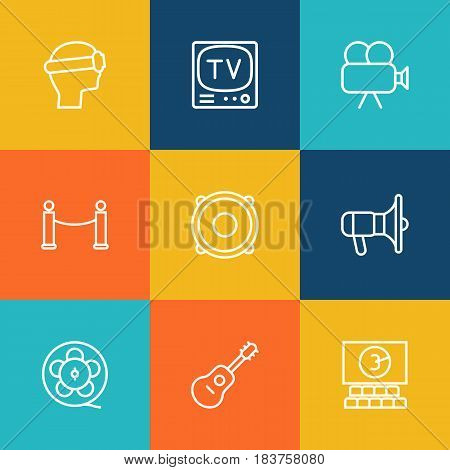 Set Of 9 Pleasure Outline Icons Set.Collection Of Tv Set, Cinema, Film Role And Other Elements.