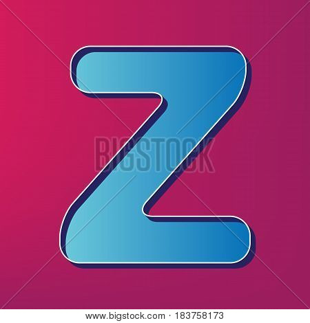 Letter Z sign design template element. Vector. Blue 3d printed icon on magenta background.