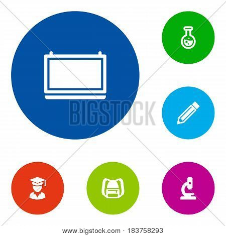 Set Of 6 Science Icons Set.Collection Of Diplomaed Male, Drawing Tool, Blackboard And Other Elements.