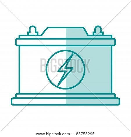 blue silhouette shading of car battery icon vector illustration