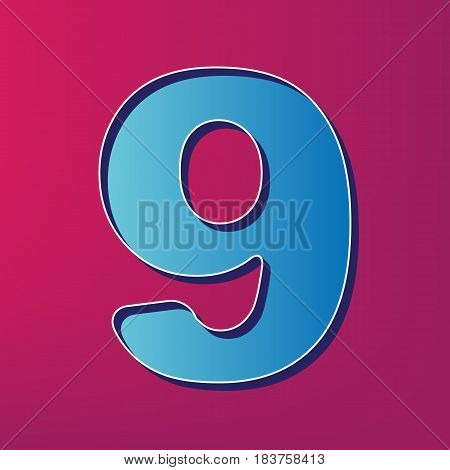 Number 9 sign design template element. Vector. Blue 3d printed icon on magenta background.