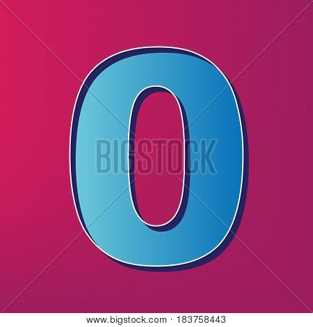Number 0 sign design template element. Vector. Blue 3d printed icon on magenta background.