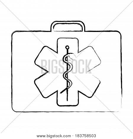 blurred silhouette firts aid kit with symbol star of life vector illustration