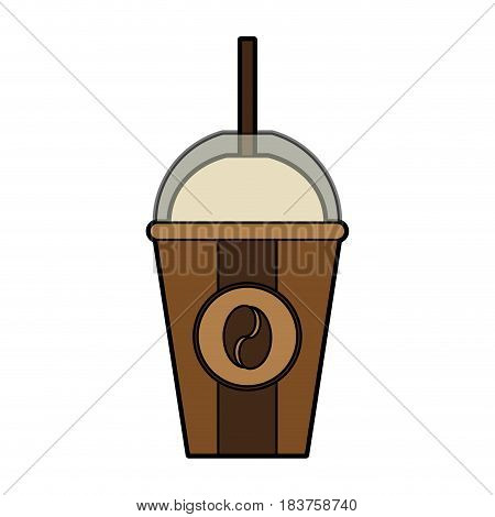 colorful silhouette glass disposable of coffee with straw vector illustration