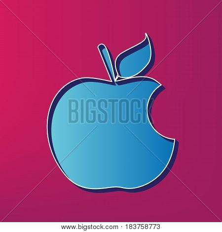 Bite apple sign. Vector. Blue 3d printed icon on magenta background.