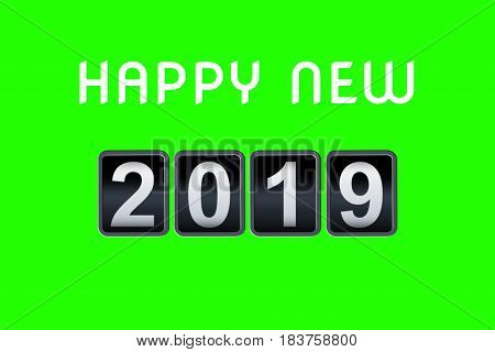 2018 2019 Happy New Year Concept Vintage Analog Counter Countdown Timer, Retro Flip Number Counter F