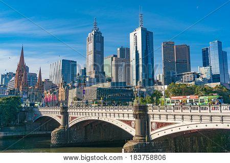 Melbourne Cityscape And Princess Bridge