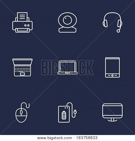 Set Of 9 Computer Outline Icons Set.Collection Of Printer, Monitor, Tablet And Other Elements.