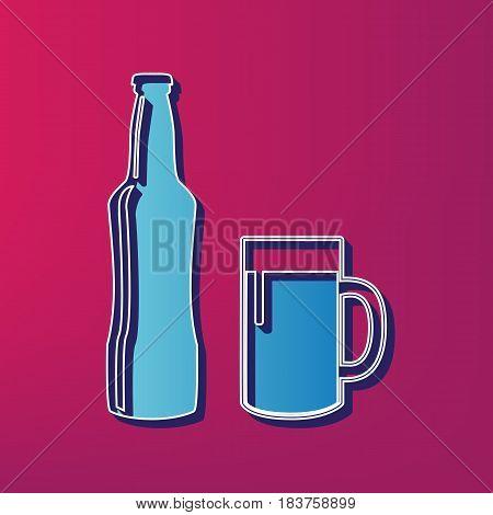 Beer bottle sign. Vector. Blue 3d printed icon on magenta background.