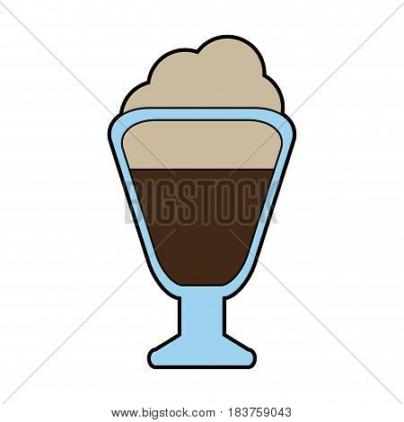 colorful silhouette glass cup of cappuccino with cream vector illustration
