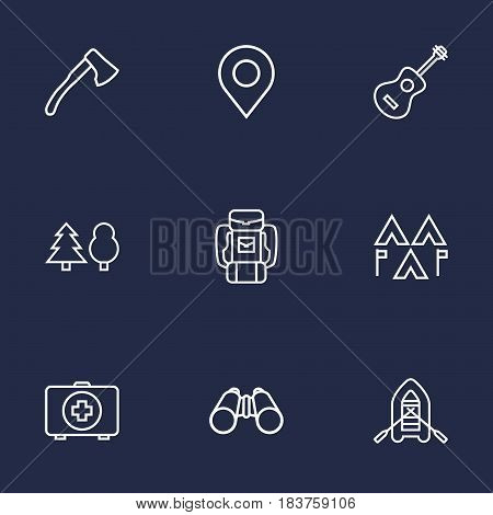 Set Of 9 Outdoor Outline Icons Set.Collection Of Ax, Encampment, Medical Kit And Other Elements.